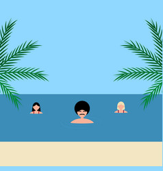 Young women and man girlfriends swim in sea on vector