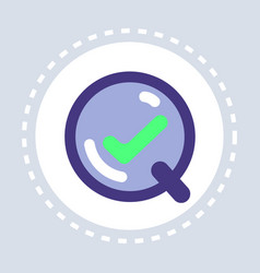 zoom magnifier with green check mark search vector image