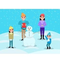 Cartoon happy family playing snowballs snowman vector image vector image