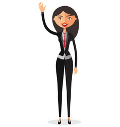 cheerful young asian businesswoman waving her hand vector image