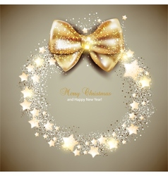 Elegant Christmas wreath with stars and bow vector image