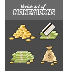 Set of icons with money vector image