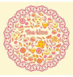 tea time tea sweets lemon Cake vector image