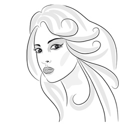 beauty girl sketch vector image vector image
