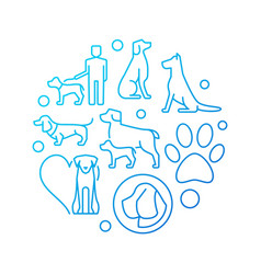 blue round with dog icons vector image vector image