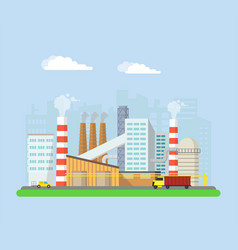 factory from the outside pipes and blast furnaces vector image vector image