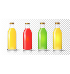 glass juice bottle colored packaging set vector image