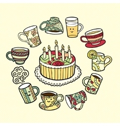Greeting card with doodle hand drawn cake and tea vector image vector image