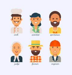 people of different professions on a white vector image vector image