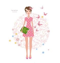 Pink butterflies flying around cute girl with a vector image vector image