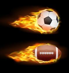 set of sports burning balls balls for vector image