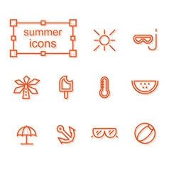 Thin line icons set summer vector image vector image
