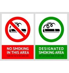 No smoking and Smoking area labels - Set 11 vector image