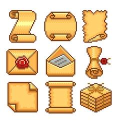 Pixel paper scrolls icons set vector image