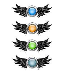 winged round buttons vector image vector image