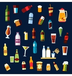 Beverages and drinks flat icons set vector image