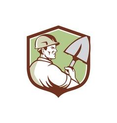 Construction Worker Spade Crest Retro vector image vector image