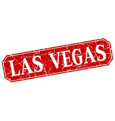 Las vegas red square grunge retro style sign vector