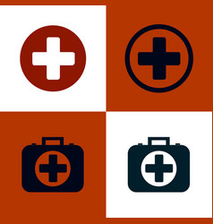 medical cross and first aid kit set of medical vector image