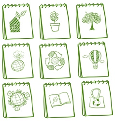 Notebooks with eco-friendly drawings vector image vector image