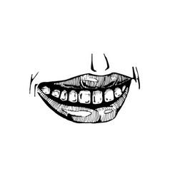smile lips isolated on white background vector image