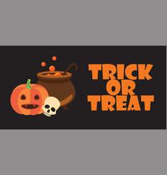trick or treat text halloween pumpkin pot skull vector image vector image