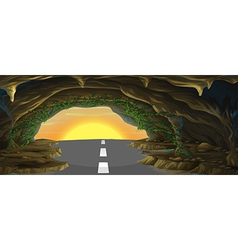 A tavern with a road vector