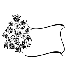 Abstract floral branch with frame vector image