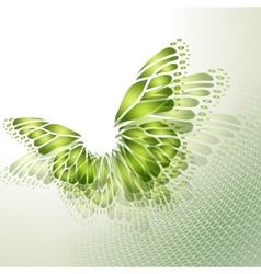 Abstract green background with butterfly vector