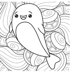 Adult coloring bookpage a kawaii dolphin on the vector