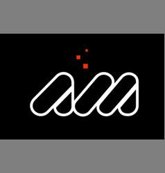 Am a m black white red alphabet letter vector