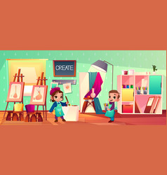 art studio interior school with children vector image