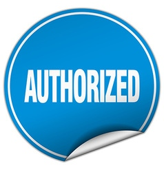 Authorized round blue sticker isolated on white vector
