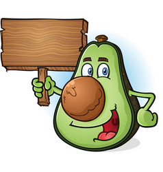 avocado cartoon character holding wooden sign vector image