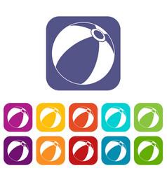 beach ball icons set vector image