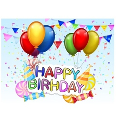Birthday background with colorful balloon vector image