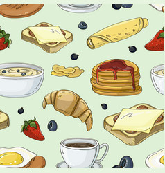 Breakfast collection set pattern vector
