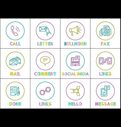 bright round linear icons with special symbols set vector image