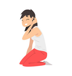 Brunette smiling young woman sitting on her knees vector