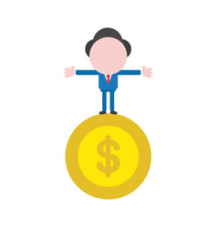 businessman character standing on dollar coin vector image