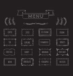 cafe blackboard menu hand drawn set vector image