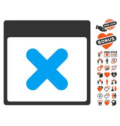 Cancel calendar page icon with valentine bonus vector