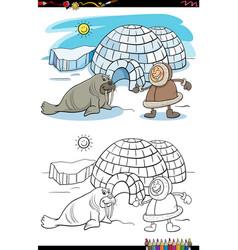 Cartoon eskimo with igloo and walrus coloring vector