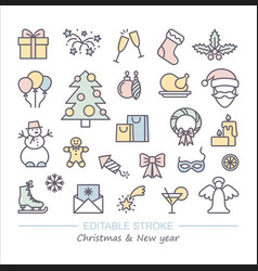 christmas and new year symbols linear icons with vector image