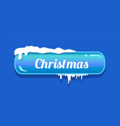 christmas blue glossy button vector image