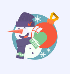Christmas card with snowman holding bauble flat vector