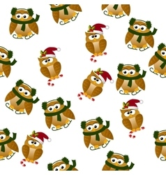 christmas owl in santa hat vector image