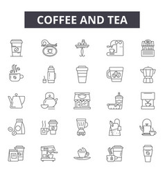 coffee and tea line icons signs set vector image