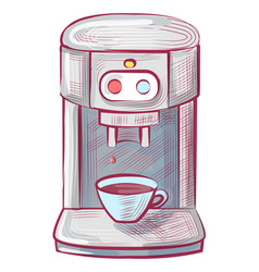 Coffee machine hot drink brew equipment isolated vector