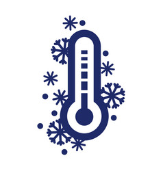 Cold weather thermometer icon isolated on white vector